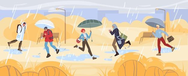 Personnages de dessins animés faisant des activités d'automne, marchant en plein air sous la pluie, concept de mode de vie