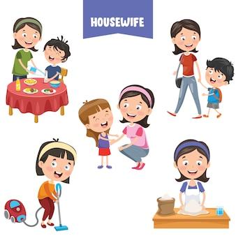 Personnages de dessins animés de femmes au foyer différentes