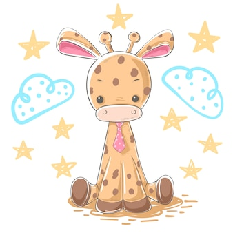 Personnages de dessins animés girafe illustration
