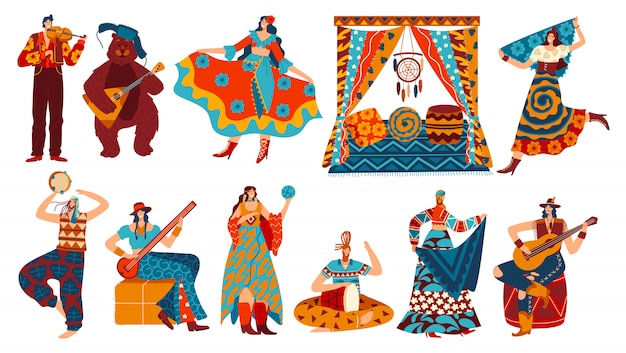 Personnages de dessins animés gitans dans un style bohème, personnes en costumes ethniques sur blanc, illustration