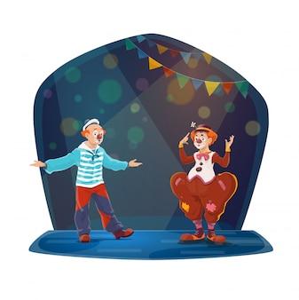 Personnages de dessins animés de grands clowns de cirque