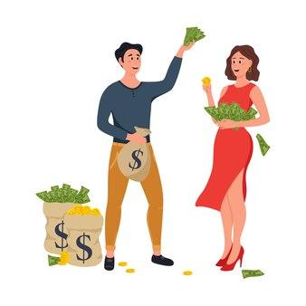 Personnages de dessins animés heureux millionnaire ou banquier.