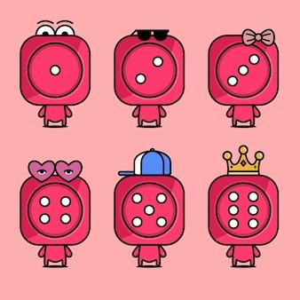 Personnages De Dessins Animés D'illustration Vectorielle De Dés Rouges Cubes De Casino Vecteur Premium
