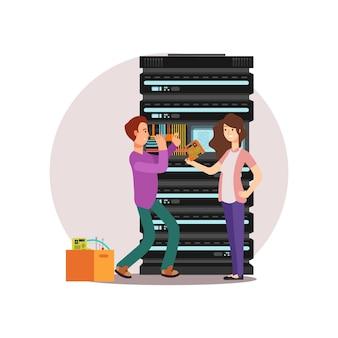 Personnages de dessins animés ingénieurs informatiques masculins et féminins. administrateurs de serveurs travaillant ensemble. illustration vectorielle