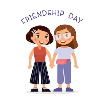Personnages de dessins animés de la journée de l'amitié