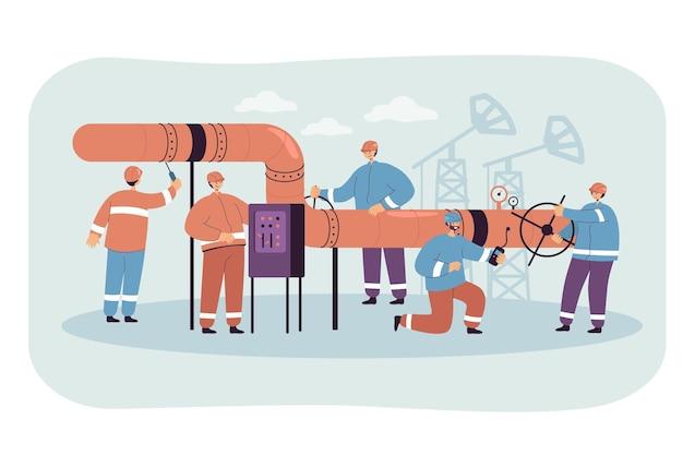 Personnages de dessins animés masculins en uniformes réparant l'oléoduc