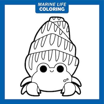 Personnages de dessins animés mignons de la vie marine à colorier bernard-l'ermite