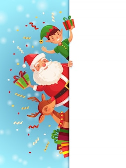 Personnages de dessins animés de noël. père noël, elfe et renne