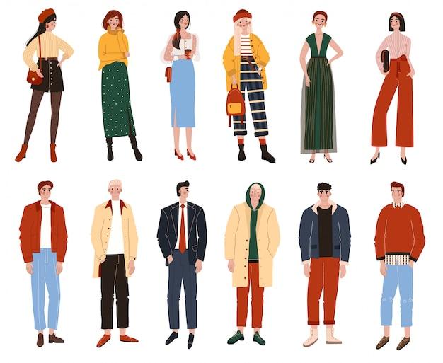Personnages de dessins animés de personnes sur blanc, mode décontractée pour hommes et femmes, illustration