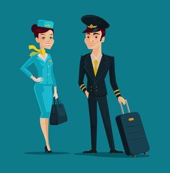 Personnages de dessins animés pilotes et hôtesse de l'air