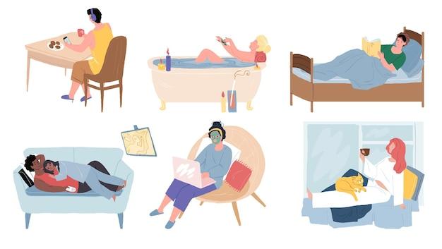Personnages de dessins animés plats se reposant et se relaxant de diverses manières, concept d'illustration vectorielle