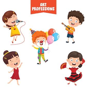 Personnages de dessins animés de professions artistiques