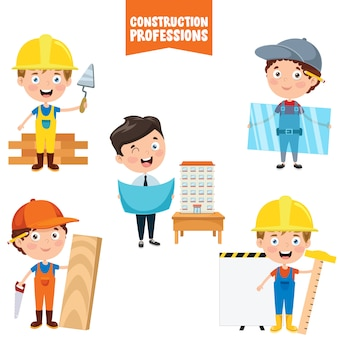 Personnages de dessins animés des professions de la construction