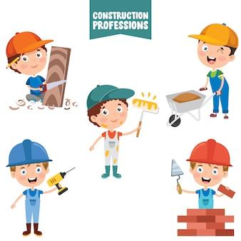 Personnages de dessins animés des professions de la construction