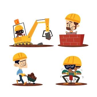 Personnages de dessins animés rétro dessinés à la main avec des ouvriers du bâtiment