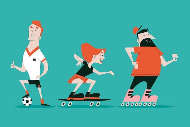 Personnages de dessins animés rétro dessinés à la main