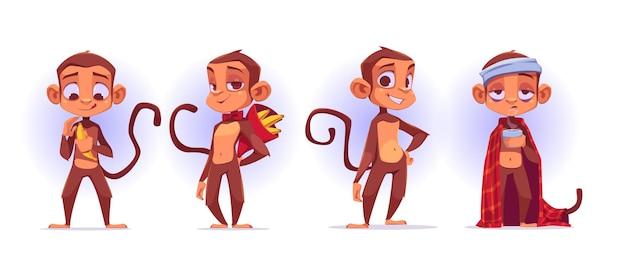 Personnages de dessins animés de singe, pelure de mascotte de singes mignons et présentation de banane