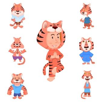 Personnages de dessins animés de tigre style plat et enfant en costume de carnaval de tigre.