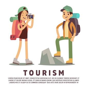 Personnages de dessins animés touristiques. concept de tourisme plat