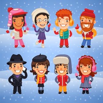 Personnages de dessins animés en vêtements d'hiver