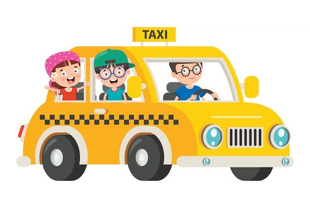 Personnages de dessins animés voyageant avec véhicule