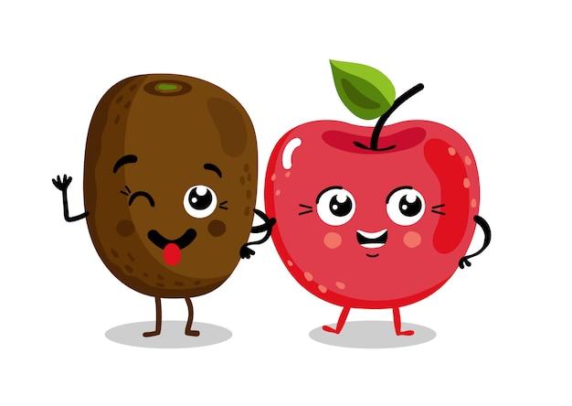 Personnages de dessins isolés de fruits drôles