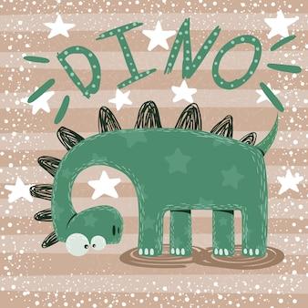 Personnages de dinosaures mignons, drôles et fous