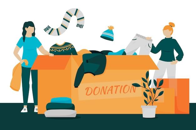 Personnages donnant leurs vêtements à des œuvres caritatives