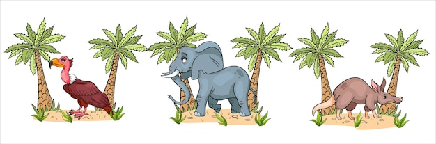 Personnages drôles animaux vautour, éléphant, oryctérope avec des palmiers en style cartoon.
