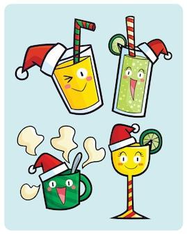 Personnages drôles de boissons de noël dans un style cartoon