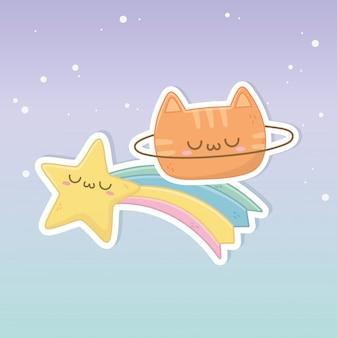 Personnages drôles de chat et arc-en-ciel kawaii