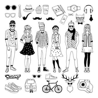 Des personnages drôles de hipster avec des éléments funky façonnés s'isolent sur blanc. vecteur dessiné à la main illustrat