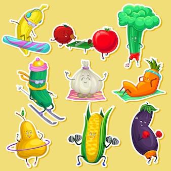 Personnages drôles de légumes et de fruits faisant du sport, autocollants avec dessin animé de légumes illustrations
