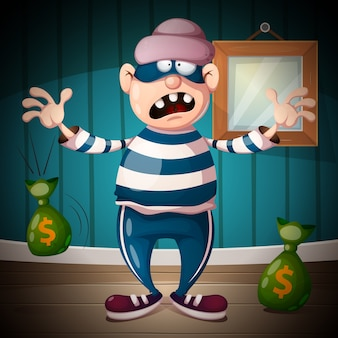 Personnages drôles, mignons, fous de voleur de dessin animé