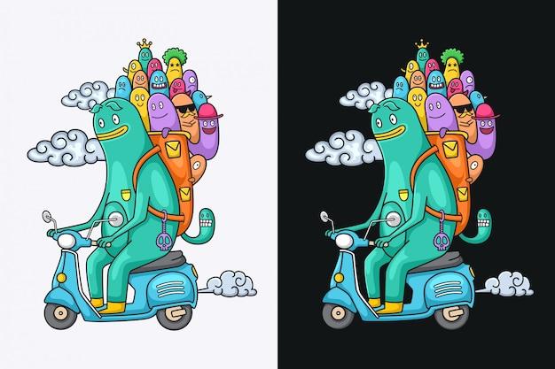 Personnages drôles de monstre sur une moto
