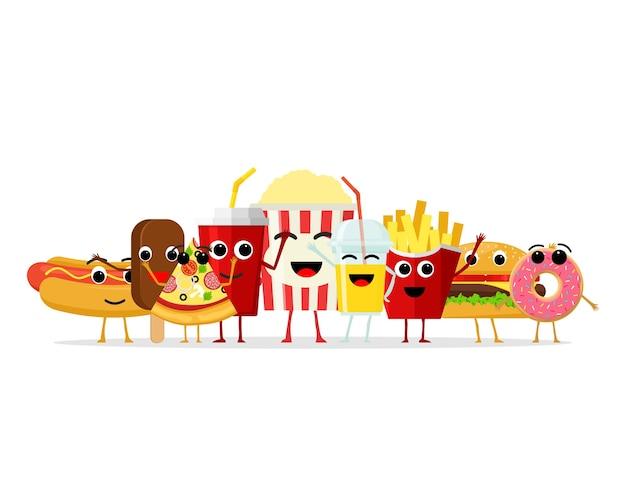 Personnages drôles de restauration rapide. visage de dessin animé sourire heureux fastfood, collation comique