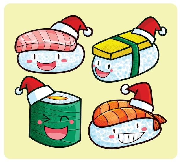 Personnages drôles de sushi de noël dans un style kawaii