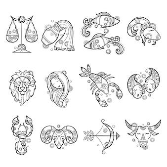 Personnages du zodiaque. astrologie horoscope signes tatouages lion bélier poisson cancer graphiques