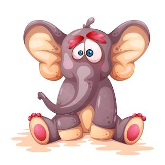 Personnages d'éléphant fou de dessin animé