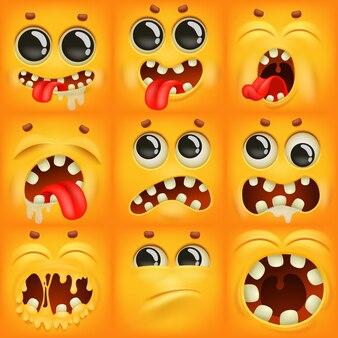 Personnages emoji de dessin animé jaune dans diverses émotions.