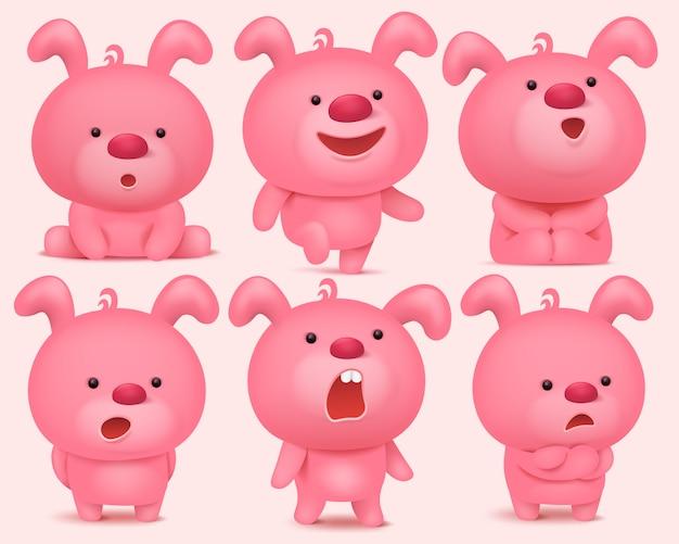 Personnages emoji de lapin rose sertie de différentes émotions.