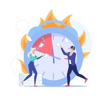Personnages d'employés plats de dessin animé, grande horloge sur la scène de la date limite de travail.
