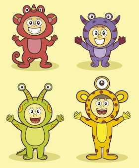 Personnages d'enfants avec collection de costumes étrangers