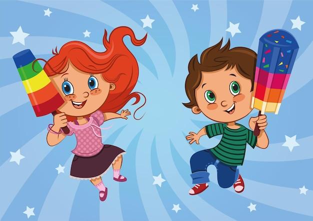 Personnages d'enfants heureux avec leurs sucettes glacées illustration vectorielle
