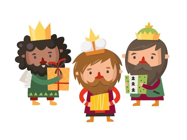 Personnages de l'épiphanie trois rois avec des cadeaux