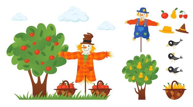 Personnages d'épouvantail dans le jardin fruitier