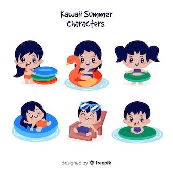 Personnages d'été kawaii