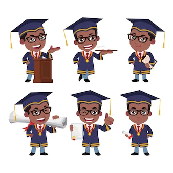 Personnages d'étudiants diplômés avec différentes poses