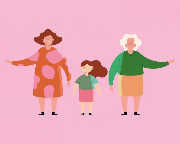 Personnages de la famille des grands-mères et des petites-filles