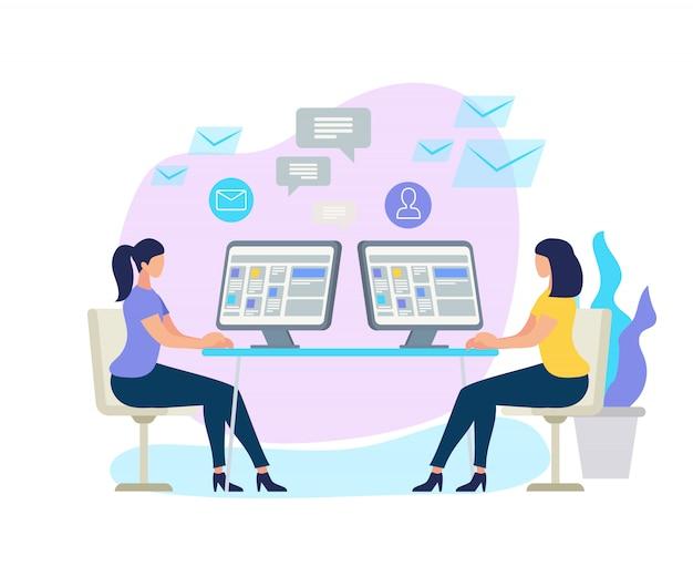 Personnages féminins assis à un bureau avec ordinateur